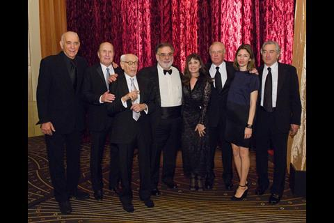 Albert S. Ruddy, Robert Duvall, Honorary Award recipient Eli Wallach, Irving G. Thalberg Memorial Award recipient Francis Ford Coppola, Talia Shire, James Caan, Sofia Coppola and Robert De Niro.